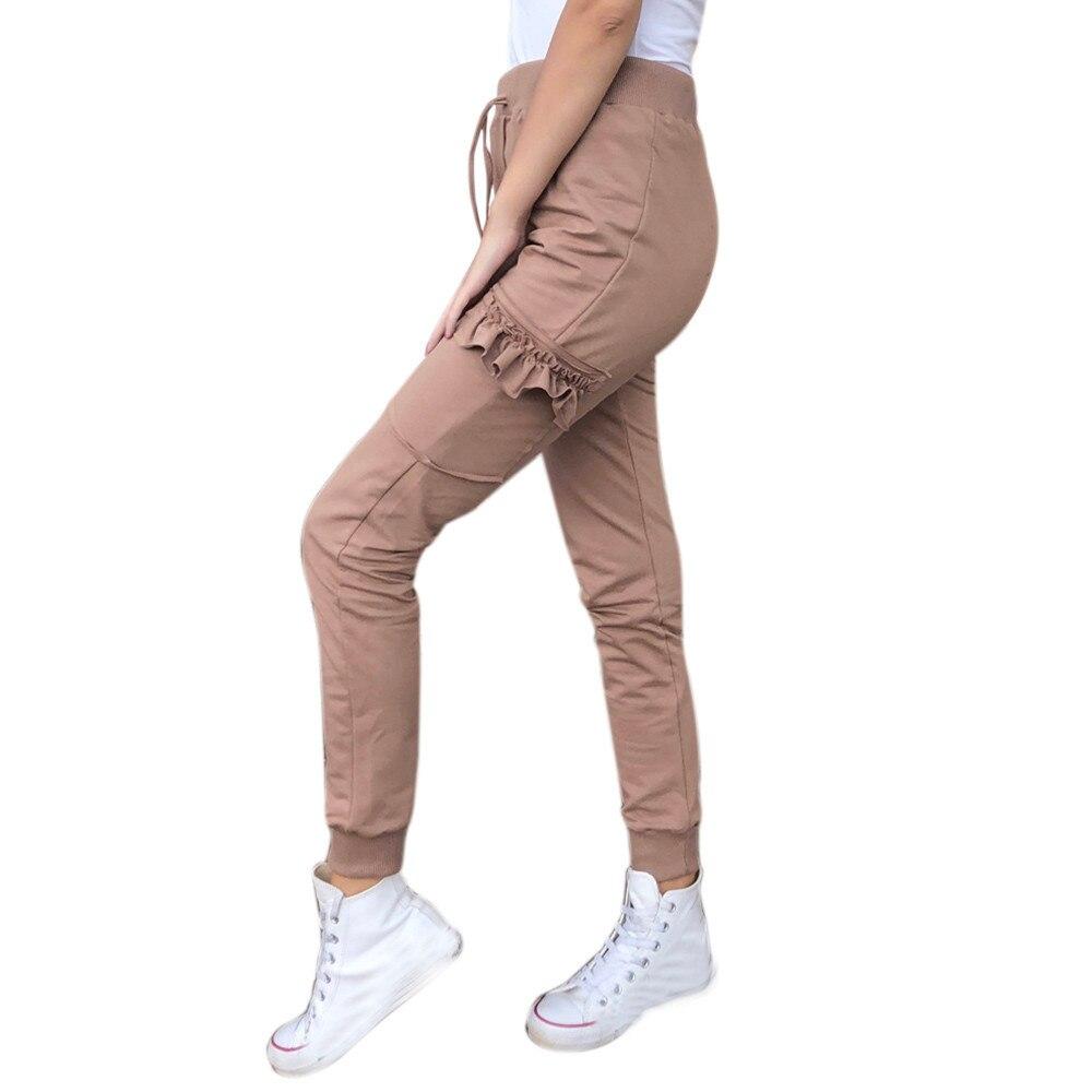 JAYCOSIN Women Clothes Jeans Stretch Denim Trousers For Girls Fashion Ruffles Pockets Elastic Waist Slim Straight Jeans Femme