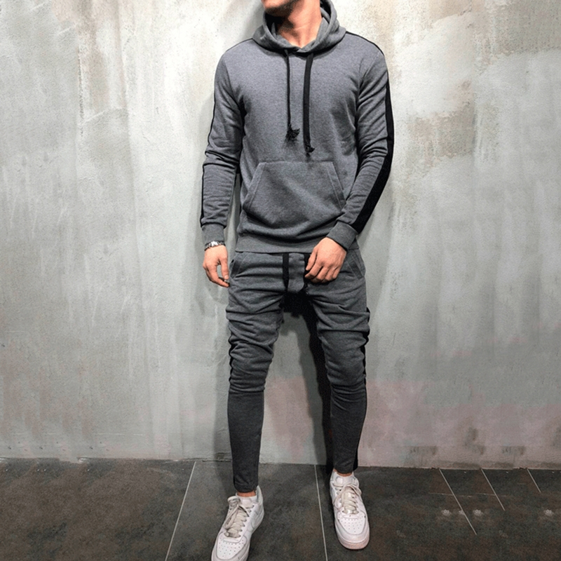 2 Pieces Sets Men Tracksuit  New Brand Autumn Winter Hooded Sweatshirt +Drawstring Pants Male Stripe Patchwork Hoodies New