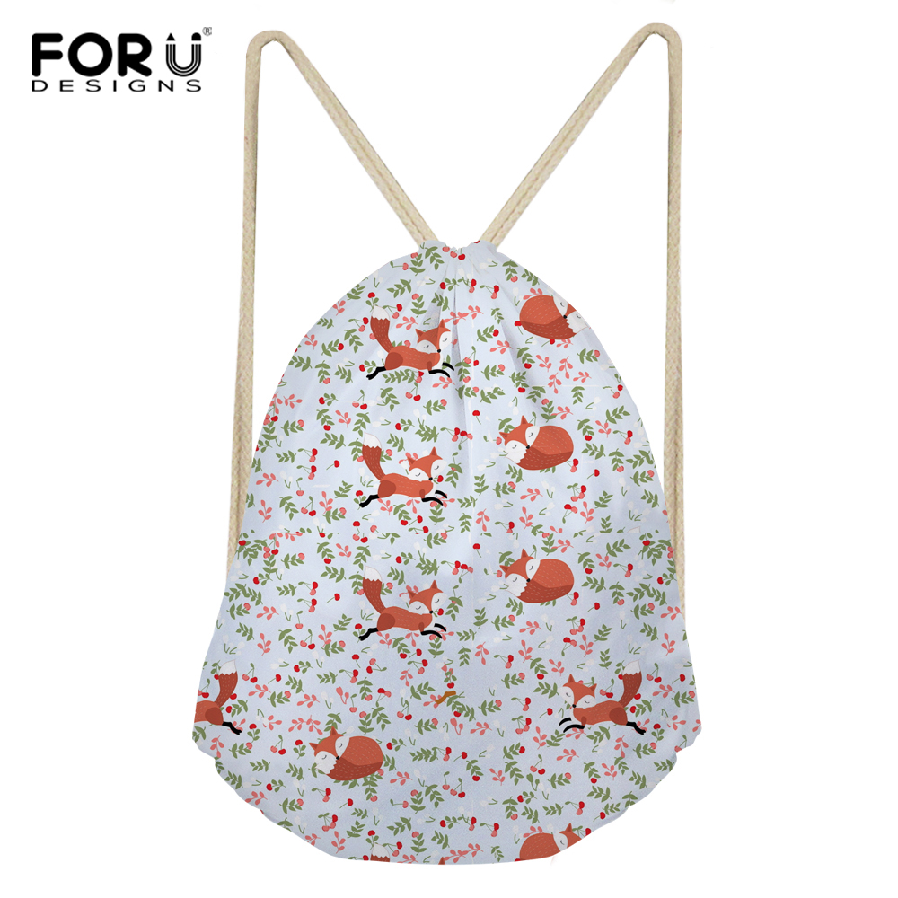 FORUDESIGNS Drawstring bag Fashion Portable Drawstring Bag Fox Dog Printing Polyester Fo ...