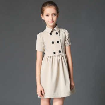 BRAND 2019 Summer Gilr Dress Child Double Breasted Vestido Children Princess Short Sleeved Cotton Mini Dress High Quality
