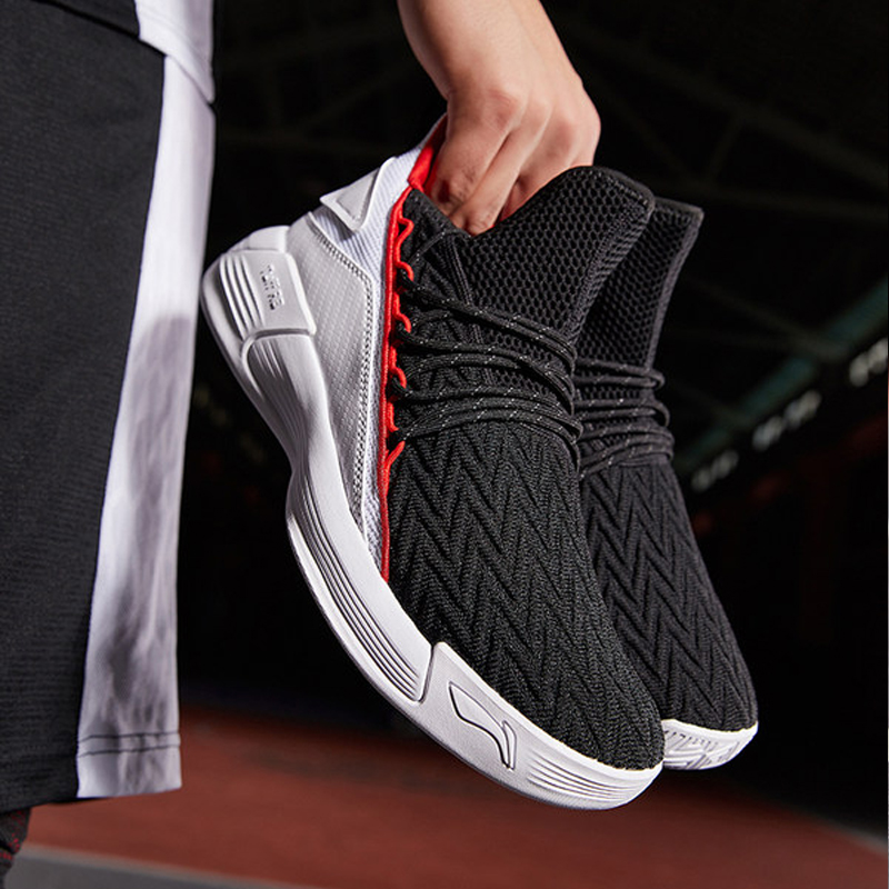 Li Ning Basketball Shoes Men's Shoes 2019 Spring New Shock Absorption Wear-resistant Anti-skid Knitted Basketball Shoes