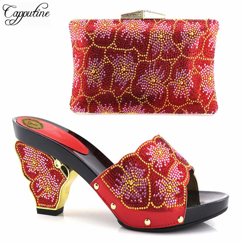Capputine New Italian Shoes With Matching Bag For Party Wedding Shoes And Bag Set High Quality Women Pumps Shoes And Bag Set