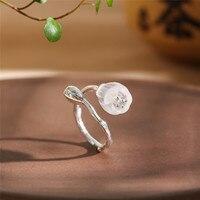 Vintage Lapis & Crystal Gemstone Ring For Women 2019 Original Handmade Flower 100% 925 Sterling Silver Adjustable Ring