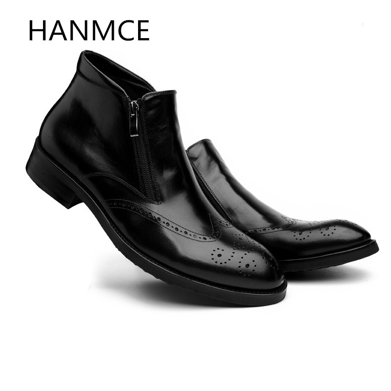 New mens genuine leather boots business casual fashion carving ankle boots shoes men high quality office work boots black redNew mens genuine leather boots business casual fashion carving ankle boots shoes men high quality office work boots black red