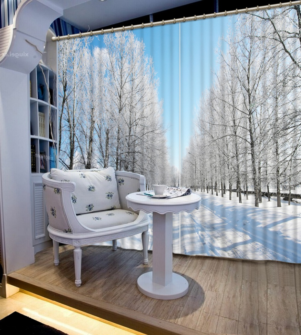 3d Curtains Blackout Shade Window Curtains Style snow scenery fashion decor Luxury 3D Blackout Window Curtains in Curtains from Home Garden