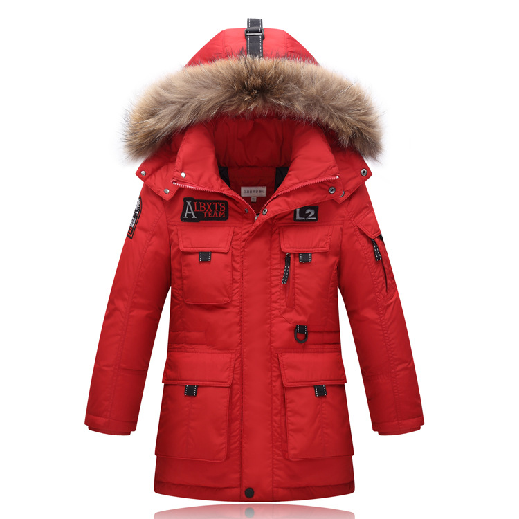 ФОТО 2016 New Children's duck Down Jackets/coats Parkas real fur Big boy Outerwears Coat thick Down feather jacket winter-40degree