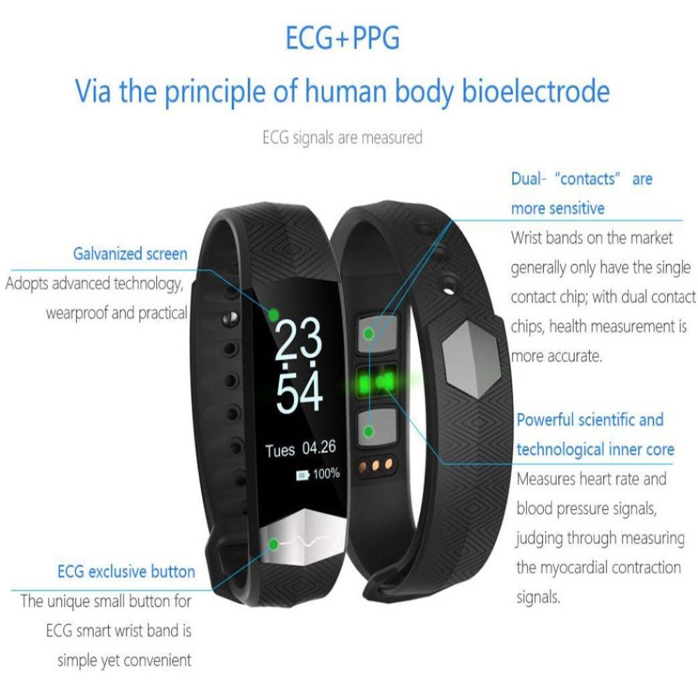 F12 Bluetooth Smart Wristband ECG Display Heart Rate Blood Pressure Fitness  Monitor Smart Bracelet for HTC ONE M8s A9 X9 10 Pro