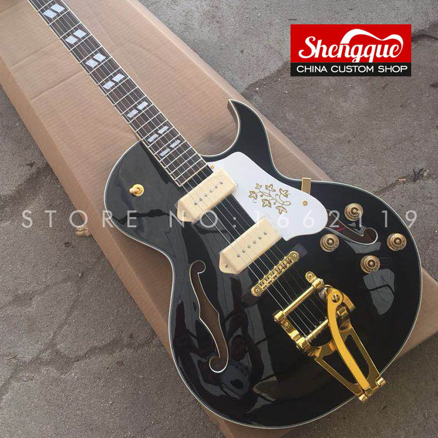 SHENGQUE custom electric guitar F hole semi hollow body 6 strings guitar with rosewood fingerboard musical instrument shop