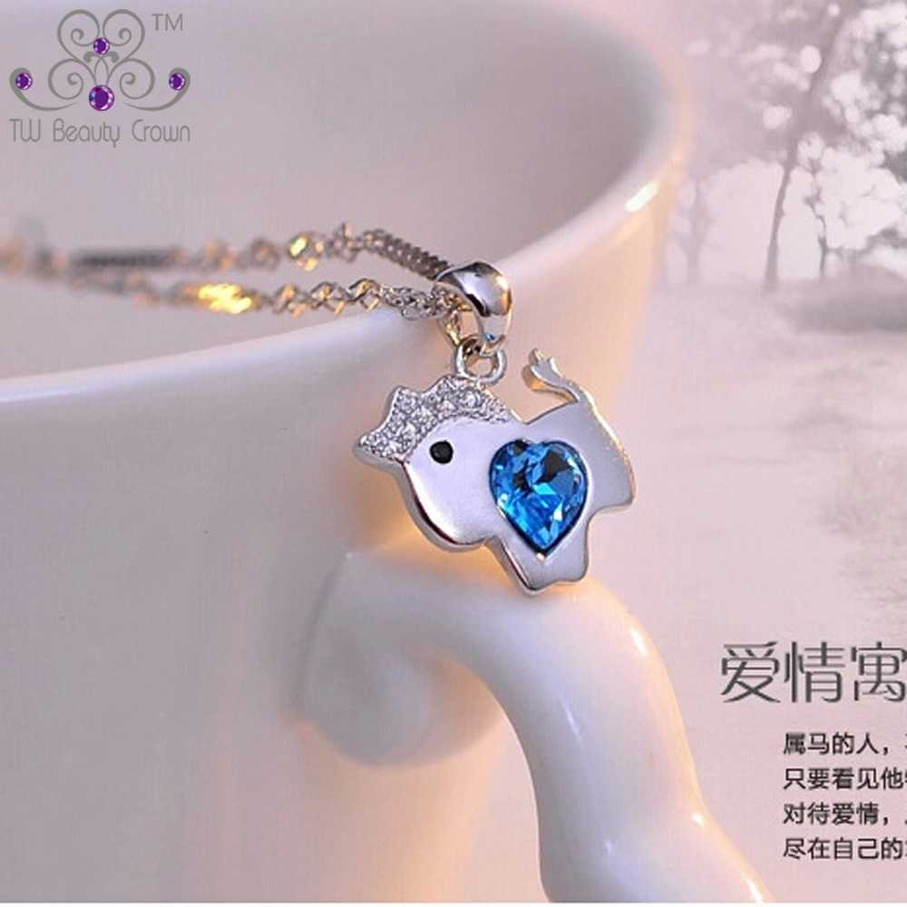 حقيقي 925 الفضة النقية لطيف ليتل الحصان المحيط الأزرق القلب زركون المعلقات القلائد للنساء الفتيات الأطفال المجوهرات