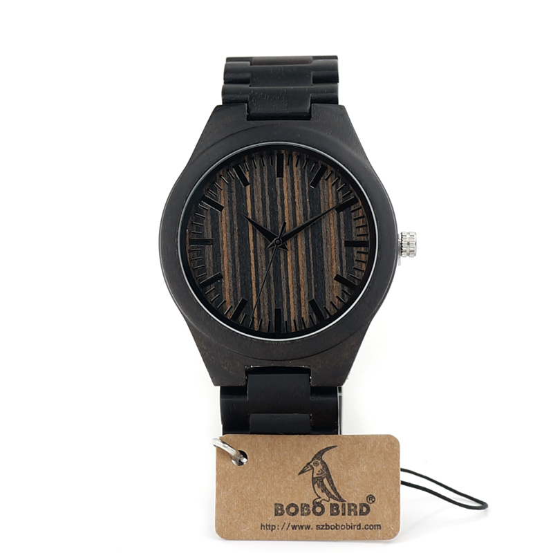 ФОТО BOBOBIRD I20 Brand Designer Simple Ebony Wooden Mens Watch Wooden Band Classic Quartz Wristwatch As Mens Gift Accept OEM Relogio