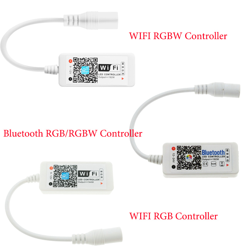 LED WIFI Controller 4.0 Bluetooth Control 5050 RGBW RGB LED Strip Tape 24 Keys Remote IOS Android Phone Light Controler DC12V led wifi controller 4 0 bluetooth control 5050 rgbw rgb led strip tape 24 keys remote ios android phone light controler dc12v