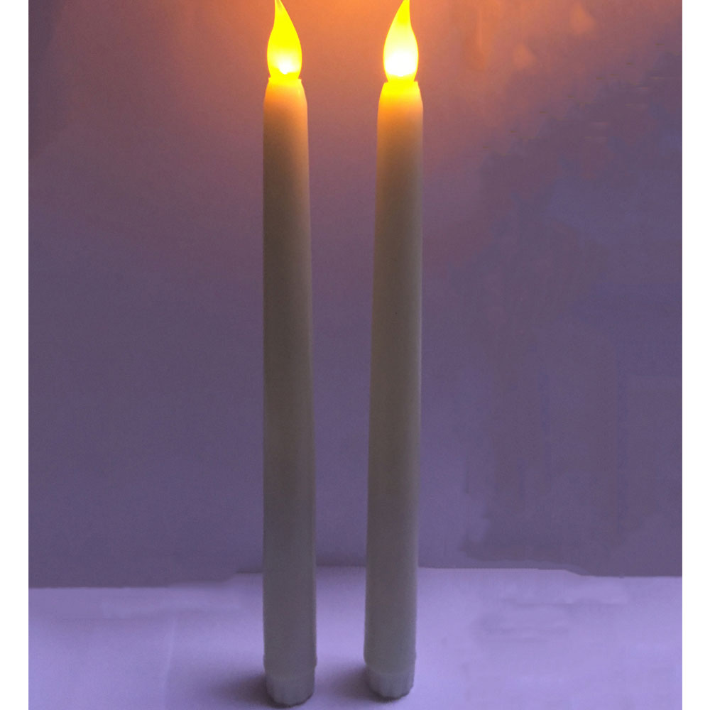 yellow flickering led flameless wax coverd taper candles amber flickering lights105 inch not included