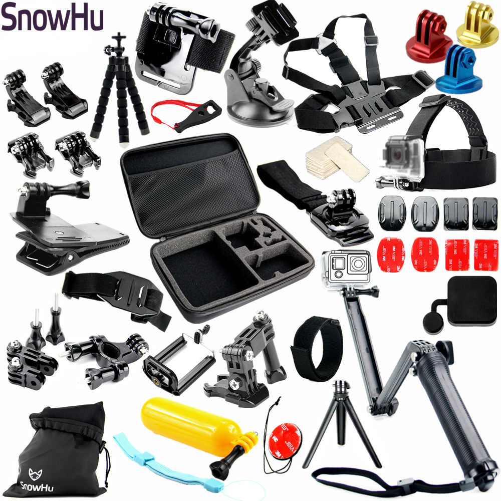 SnowHu for Helmet Harness Chest Belt Head Mount Strap Monopod For Gopro Hero 6 5 4 for xiaomi for yi 4K camera Accessories GS37 gopro hero 5 accessories set helmet harness chest belt head mount strap monopod go pro hero 4 3 session 3 xiaomi yi black y20