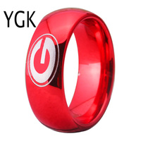 Free Shipping Customs Engraving Ring Hot Sales 8MM Red Domed Georgia Bulldogs Primary Design Tungsten Wedding