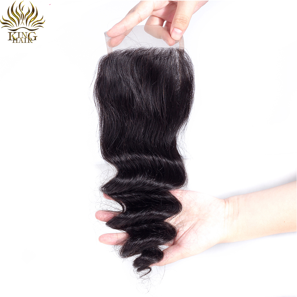 King Hair Loose Wave Brazilian Hair Weaves 4*4 Free Part Lace Closure Swiss Lace 130 Density Remy Hair 100% Human Hair Bundles