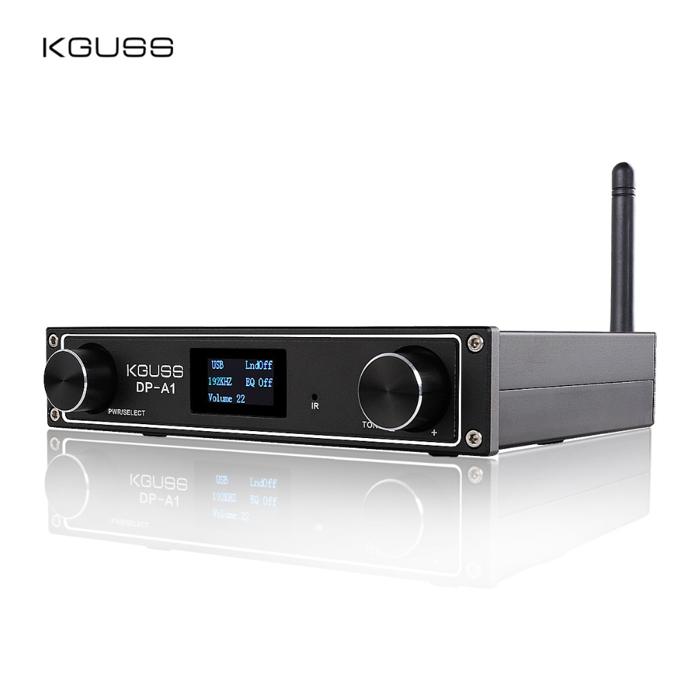 KGUSS DP-A1 Digital Bluetooth 4.2 CSR64215 Amplificador USB/Optical/Coaxial/Entrada AUX TAS5352A 24Bit/192 KHz 120 w * 2