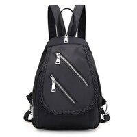 Fabra Waterproof Nylon Small Fold Braid Backpack Zipper Preppy Style Daypacks Casual Shoulder Bags Mochilas Feminina