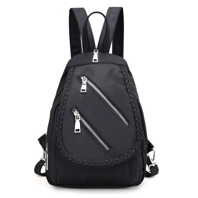 Fabra Waterproof Nylon Small Fold Braid Backpack Zipper Preppy Style Daypacks Casual Shoulder Bags Mochilas Feminina Backpacks