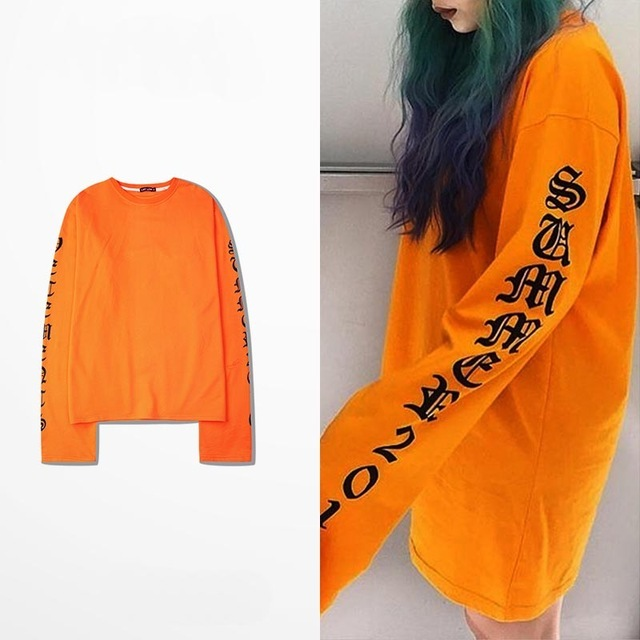 Ulzzang harajuku gothic letters long in OVERSIZE INS with super long sleeve t-shirts for men and women yeezy