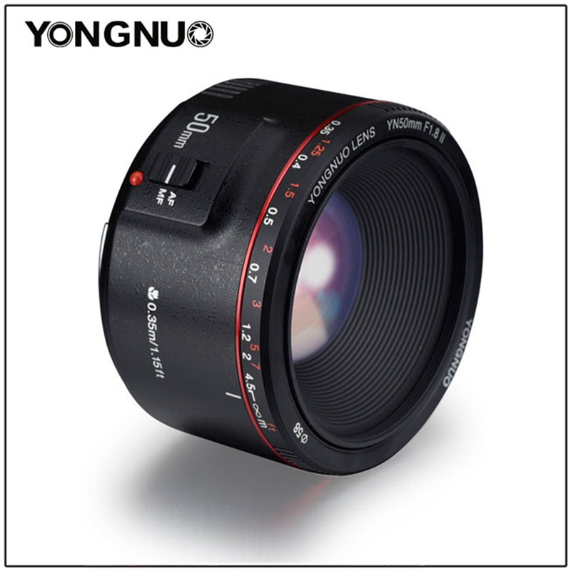 YONGNUO YN50mm F1.8 II Large Aperture Auto Focus Lens 50mm Lentes For Canon 100d 650d 5d 77d 500d 1000d 5DIV 5DIII 5DII 5D 60D-in Camera Lens from Consumer Electronics