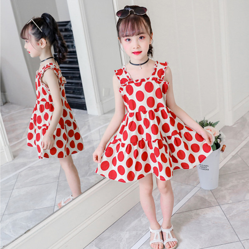 2019 New Fashion Cute Print <font><b>Girl</b></font> <font><b>Dress</b></font> Spring and <font><b>Summer</b></font> <font><b>Dress</b></font> Red Green Dot <font><b>Girl</b></font> Princess <font><b>12</b></font> 10 9 8 7 6 5 <font><b>years</b></font> <font><b>old</b></font> Dot <font><b>dress</b></font> image
