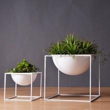 Black/White Modern Tabletop Waterproof Cube Metal Flower Plant Pot Pergola Garden Planting Indoor Flower Bonsai Home Decoration