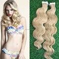 Cinta En extensiones de Cabello Humano barato #613 Blonde del Blanqueo 20 unids brasileño Virgin Hair Body Wave pelo de la trama de la piel extensiones