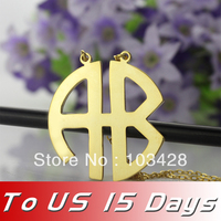 Freeshipping 2 Letters Gold Plated Block Monogram Necklace 2 Initials Nameplate Monogrammed Pendant Personalized To US