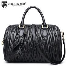 zooler New women bag Superior Sheepskin genuine leather bag brands fashion fold Boston  bag women leather handbags Shoulder Bag