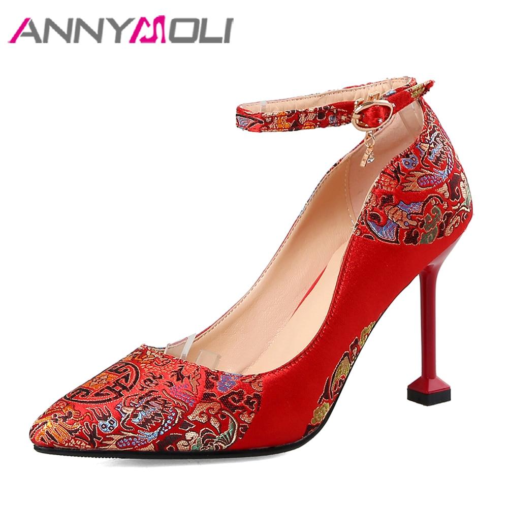 ANNYMOLI Women Shoes High Heels Wedding Shoes Bridal