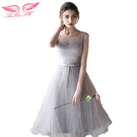 Grey Lace Evening Dresses New Grey Sister Bow Evening Dresses Graduation Gowns Dinner Lace Evening Dresses