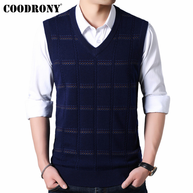 COODRONY Sweater Men Knitted Cashmere Wool Mens Sweaters 2019 Autumn Winter V-Neck Sleeveless Vest Pull Homme Pullover Men 91019