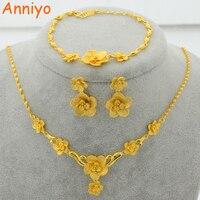 New Trendy 22K Gold Plated Jewelry Set Flower Pendant Necklace Earrings Bracelet For Women Posy Luxury