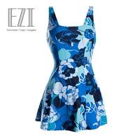 July Sand Blue Open Back Plus Size Swimdress Woman Swimwear 1016