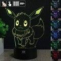 Enviado para OS EUA Ilusão 3D Pokemon Controle Remoto LED Table Desk Toque Lâmpada Night Light 7 Cor Crianças Crianças Família Do Presente Do Feriado
