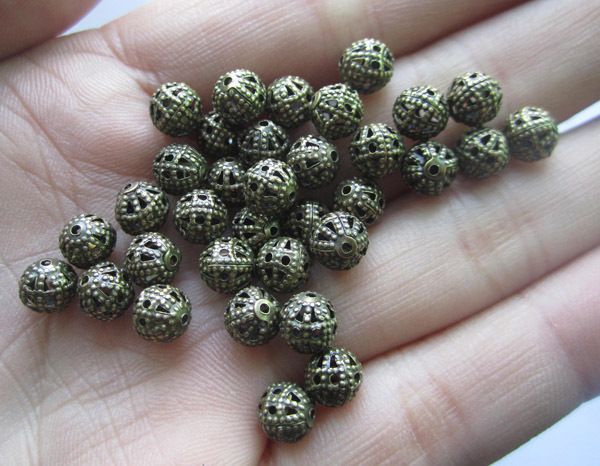 6mm 8mm 10mm 50pcs/lot BronzeHollow Ball-flower Metal Loose Beads Jewelry Findings & Components
