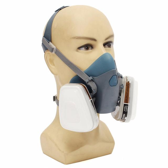 Alta Calidad 7 UNIDS Mucho Filtro Cubierta Traje Respirador Pintura Rociar Cara Máscara De Polvo de Gas Nueva Llegada Azul de Silicona