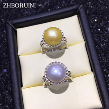 ZHBORUINI 2019 Fashion Pearl Ring Natural Freshwater Pearl Pearl 925 Sterling Silver Big Ring Jewelry For Women Drop Shipping zhboruini fashion pearl jewelry set natural freshwater pearl flower necklace earrings ring 925 sterling silver jewelry for women