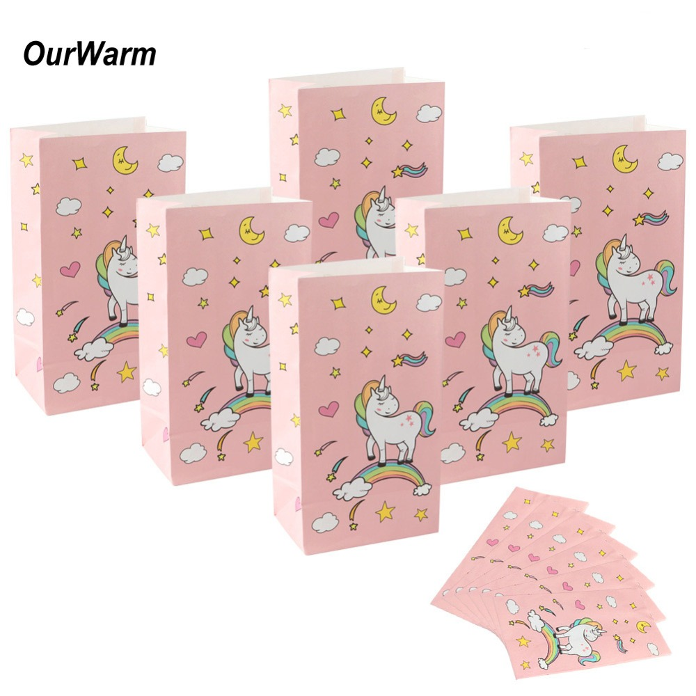 OurWarm 60pcs New Paper Bag Stand Up Colorful Unicorn Bags 12x22x8cm Favor Open Top Gift Packing Paper Treat Gift Bag Wholesale