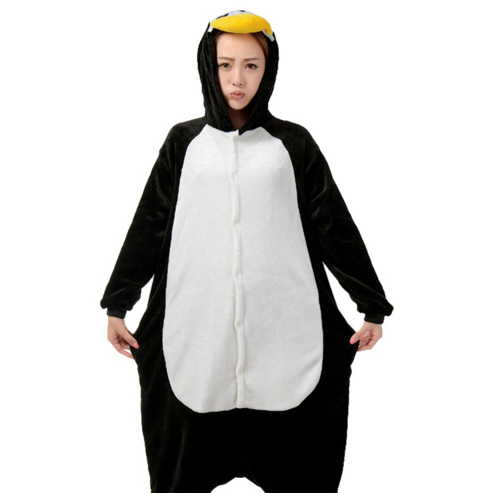 Hot Penguin Unisex Adult Flannel Pajamas Adults Cosplay Full Set High Quality