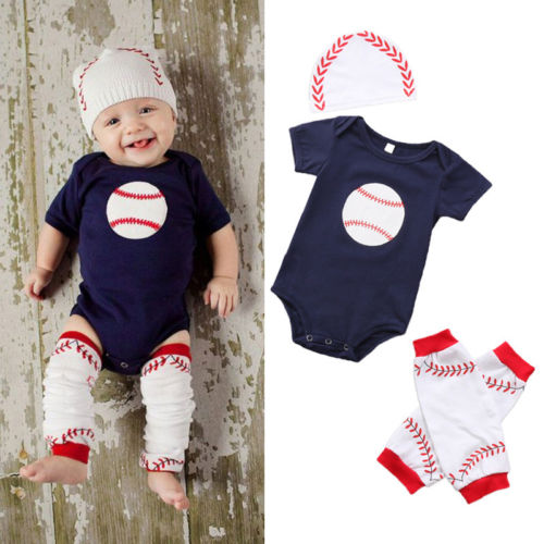 3Pcs Newborn Toddler Baby Boys Girl Rugby Baseball Short Sleeve Tops Romper Legging Warmer Hat Cap Outfits Clothes 0-18M baby girl 1st birthday outfits short sleeve infant clothing sets lace romper dress headband shoe toddler tutu set baby s clothes