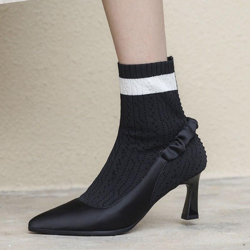 f1f0ef324 Casual Mujeres Zapatos Negro Tobillo Puntiagudas Delgados Las Pie Para  Tacones Del Moda Botas 2018 Invierno Xinbest Tacón Mujer De Dedo Alto  vqxpFwR