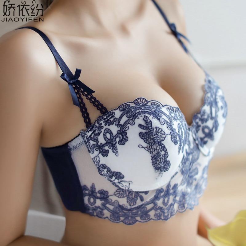 JYF Brand Sexy Lace Women Underwear Set Net Yarn Embroidery Flower 1/2 Cup Bra Set Deep V Push Up Young Girl Bra Brief Sets