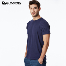 GLO-STORY Mens 2019 Basic T-shirt Casual Solid Knitted Cotton Shirt Male Short Sleeve MPO-8724