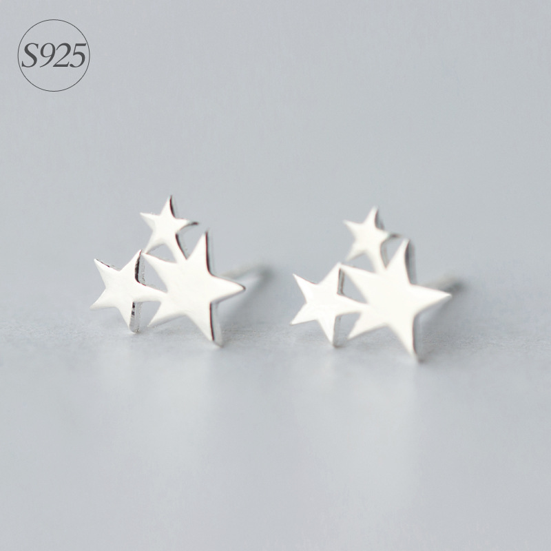 Aliexpress Srcoi Korean Fashion Simple 925 Sterling Silver Triple Star Stud Earrings Minimalist Style 3 Ear Studs For Wedding Gifts From