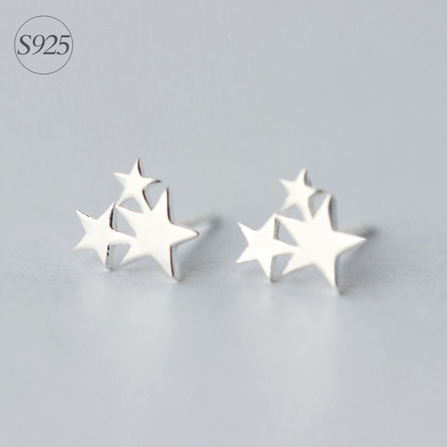 Srcoi Korean Fashion Simple 925 Sterling Silver Triple Star Stud Earrings Minimalist Style 3