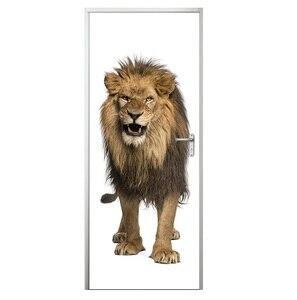 Image 4 - Adesivi Per porte 3D Giraffa Elefante Tigre Animale Cavallo Soggiorno Porte Decorativa Poster Impermeabile di Arte Carta Da Parati per la Camera Da Letto