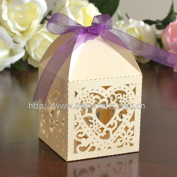 120pcs Lot Laser Cut Paper Heart Gifts Boxes Chocolate Packaging