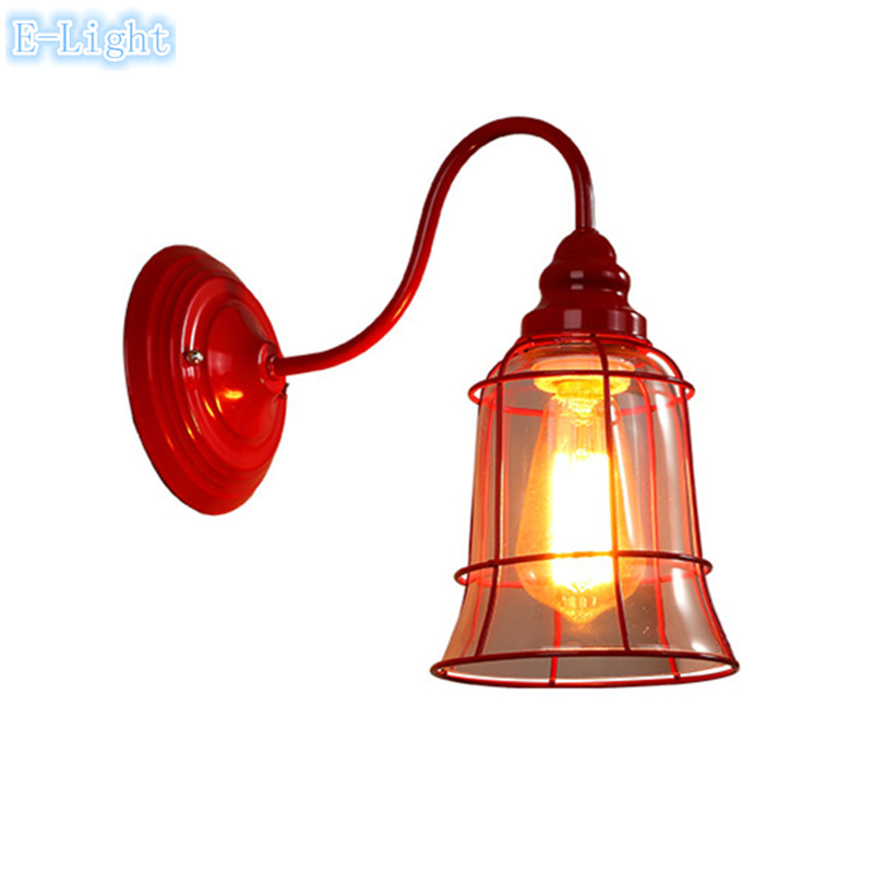 NEW red/green/blue/white Loft Industrial Wall Lamps Vintage Bedside Wall Light Clear Glass ...