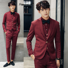 MAUCHLEY 3 Pieces Set Burgundy Mens Suit Groom Wedding Dress Suit Latest Design 6 Colors Single Breasted Jacket With Pants 2017